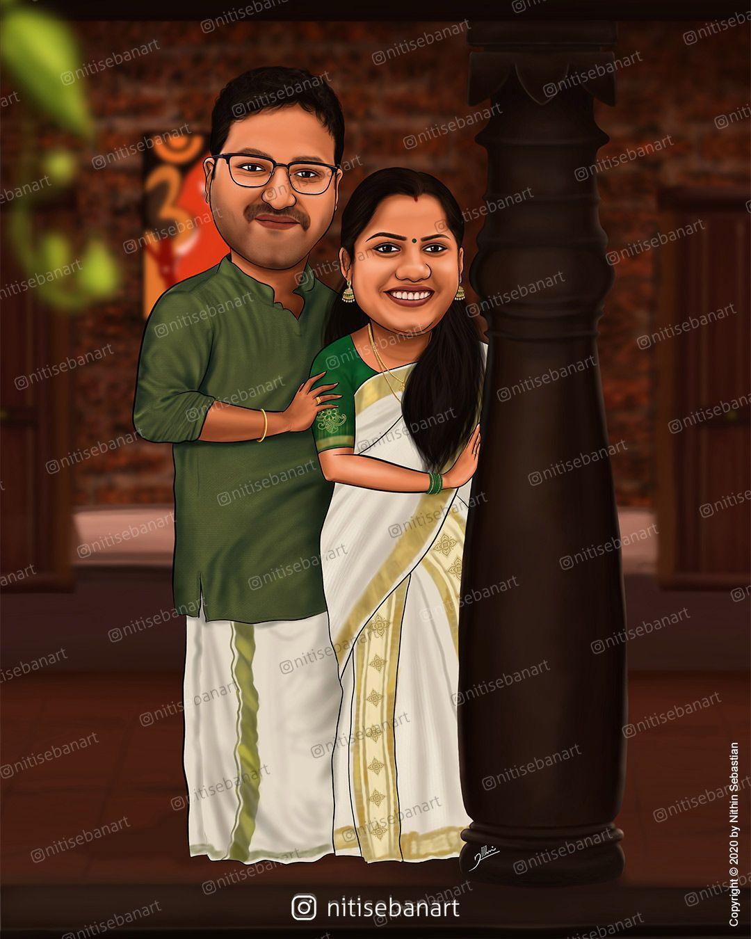 Wedding Anniversary Couple Caricature Caricature Wedding Wedding Caricature India Wedding