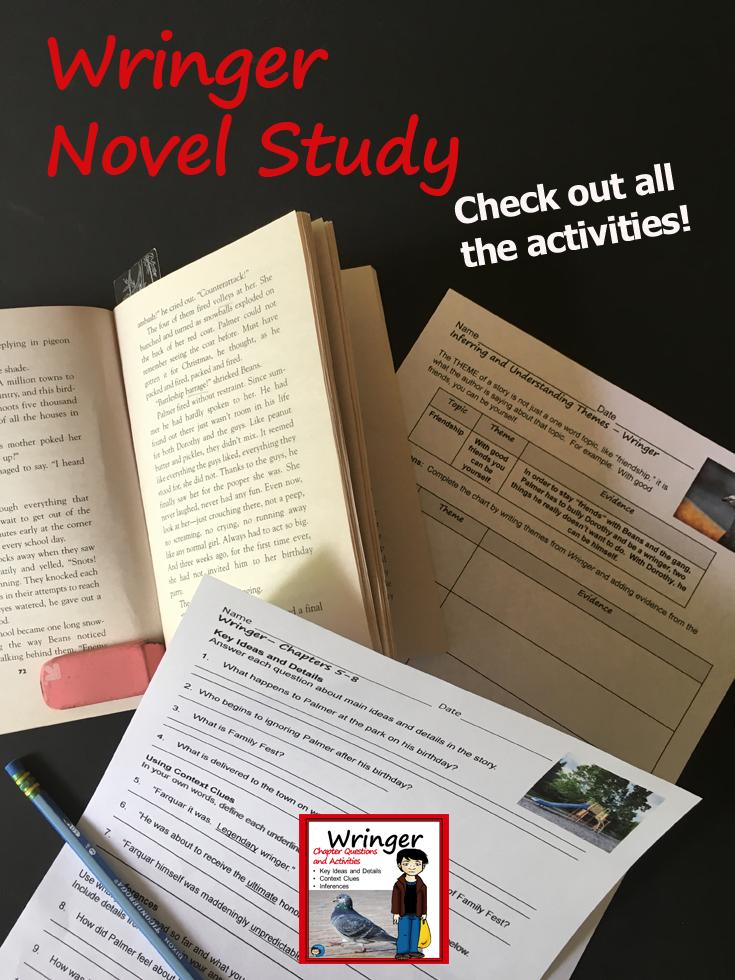 Wringer Novel Study Novel Studies Upper Elementary Reading Teaching Reading Comprehension