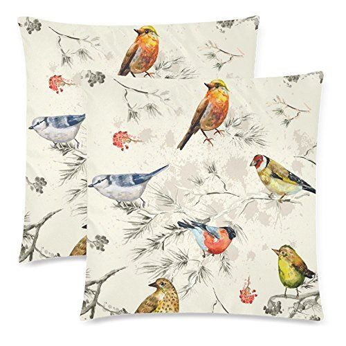 Dreamcolor 18x18 Quot Cotton Linen Bird Pattern Decorative Throw Pillow Cover Zbz0 Decorative Throw Pillow Covers Decorative Throw Pillows Throw Pillow Covers