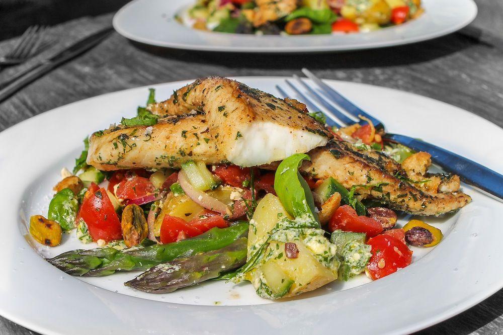 Greek Style Fish Salad Chelseawinter Co Nz Fish Salad Greek Dishes Greek Recipes