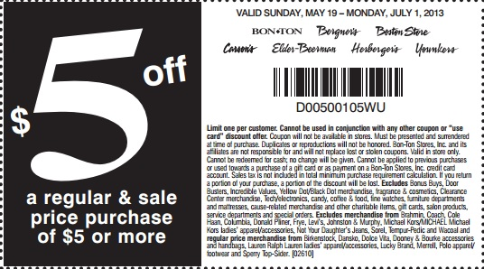 graphic regarding Elder Beerman Printable Coupons called $5 off $5 Bon-Good deal, Bergners, Boston Retailer, Carson Pirie