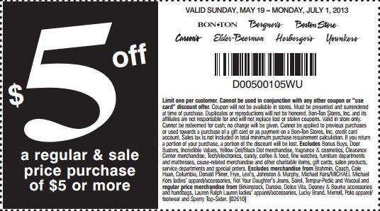 5 off 5 BonTon, Bergner's, Boston Store, Carson Pirie