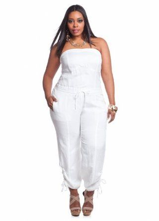 3dfde284650 Women s Plus Size Linen Self-tie Strapless Jumpsuit White 14  Clothing