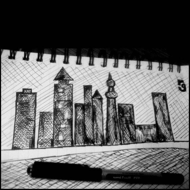 City lights  #ink #pen #first #try #sketch #cross #hatch #art #black  Instagram: http://ift.tt/1Tkwelx
