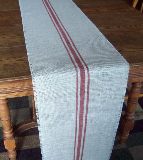 Harvest Table Runner 15 X 120 With Hand Painted Grain Sack Stripes In Barn  Red