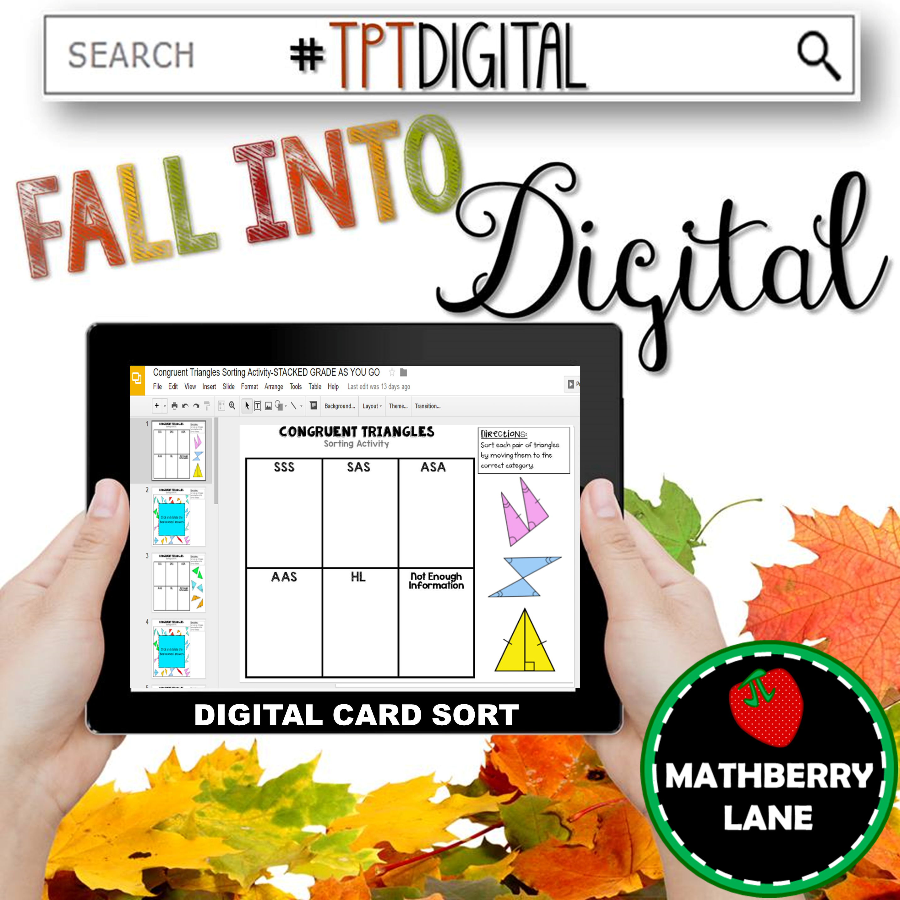 Congruent Triangles Card Sorting Activity Digital
