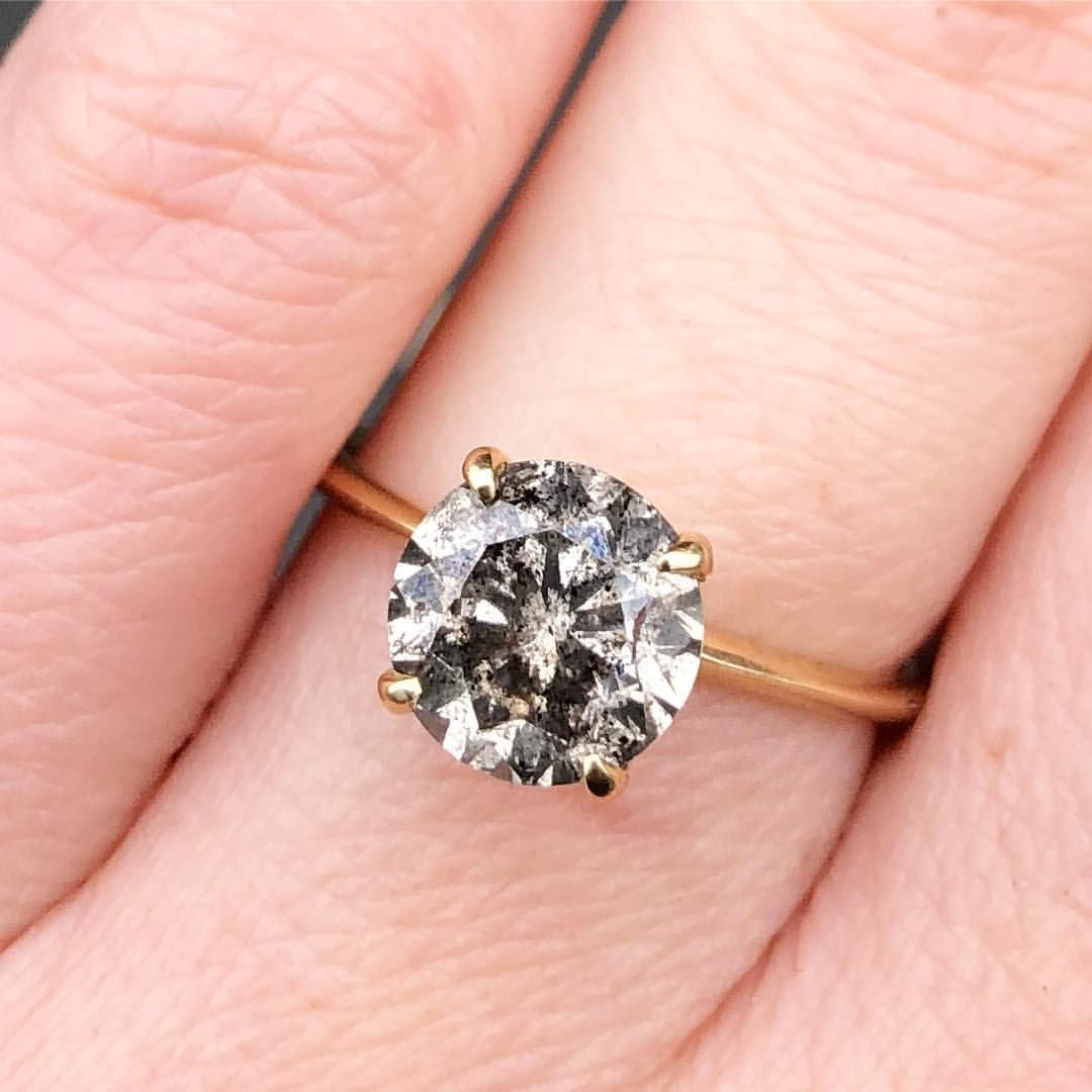 salt and pepper round cut engagement ring | Alternative Engagement ...