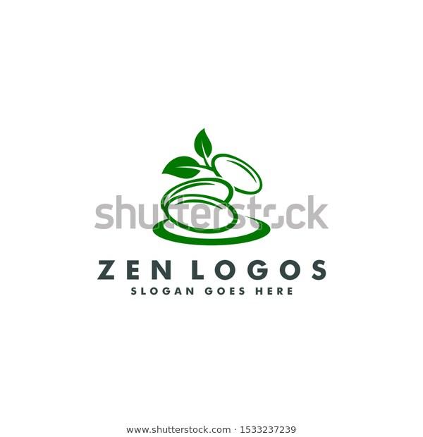 Natural Spa Stones Green Leaves Logo Stock Vector (Royalty
