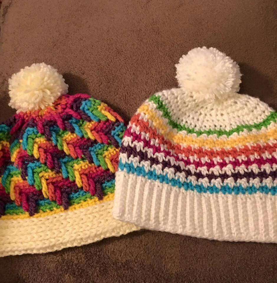 Crystal ice hat and houndstooth hat from the crochet crowd ...