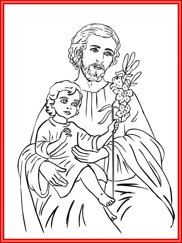 St joseph catholic coloring page school pinterest for St joseph coloring page