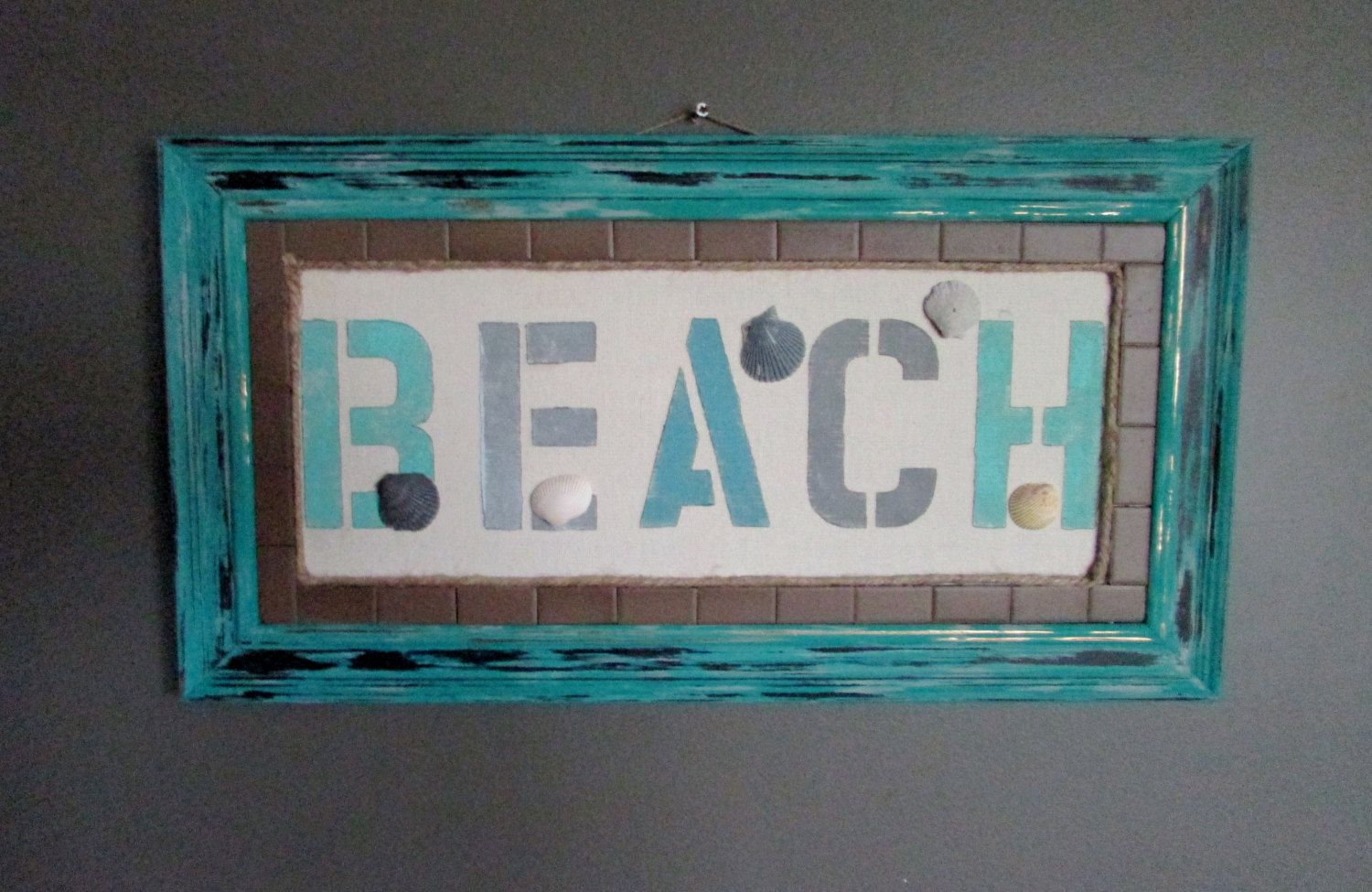 """Hand painted frame features tile,seashells, and a """"beach"""". by RusticQueens on Etsy"""