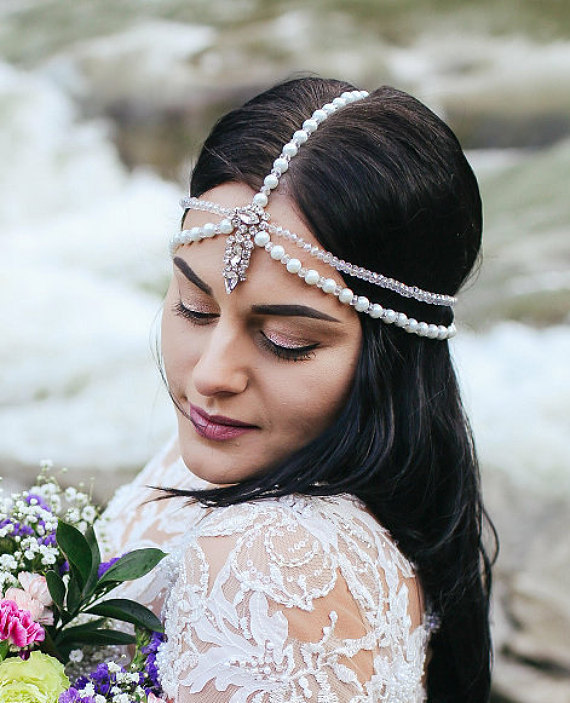 Hair jewelry forehead band Bride hair accessories