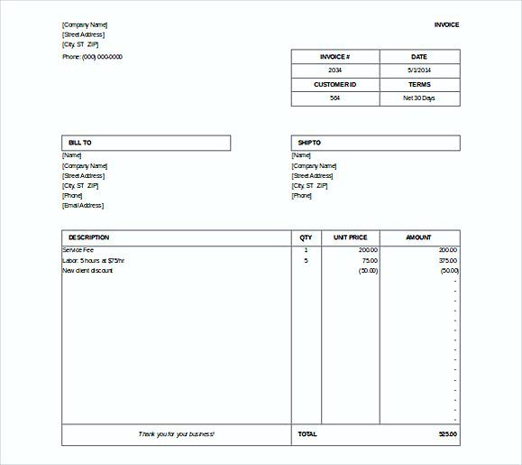 simple free microsoft billing invoice doc format simple invoice