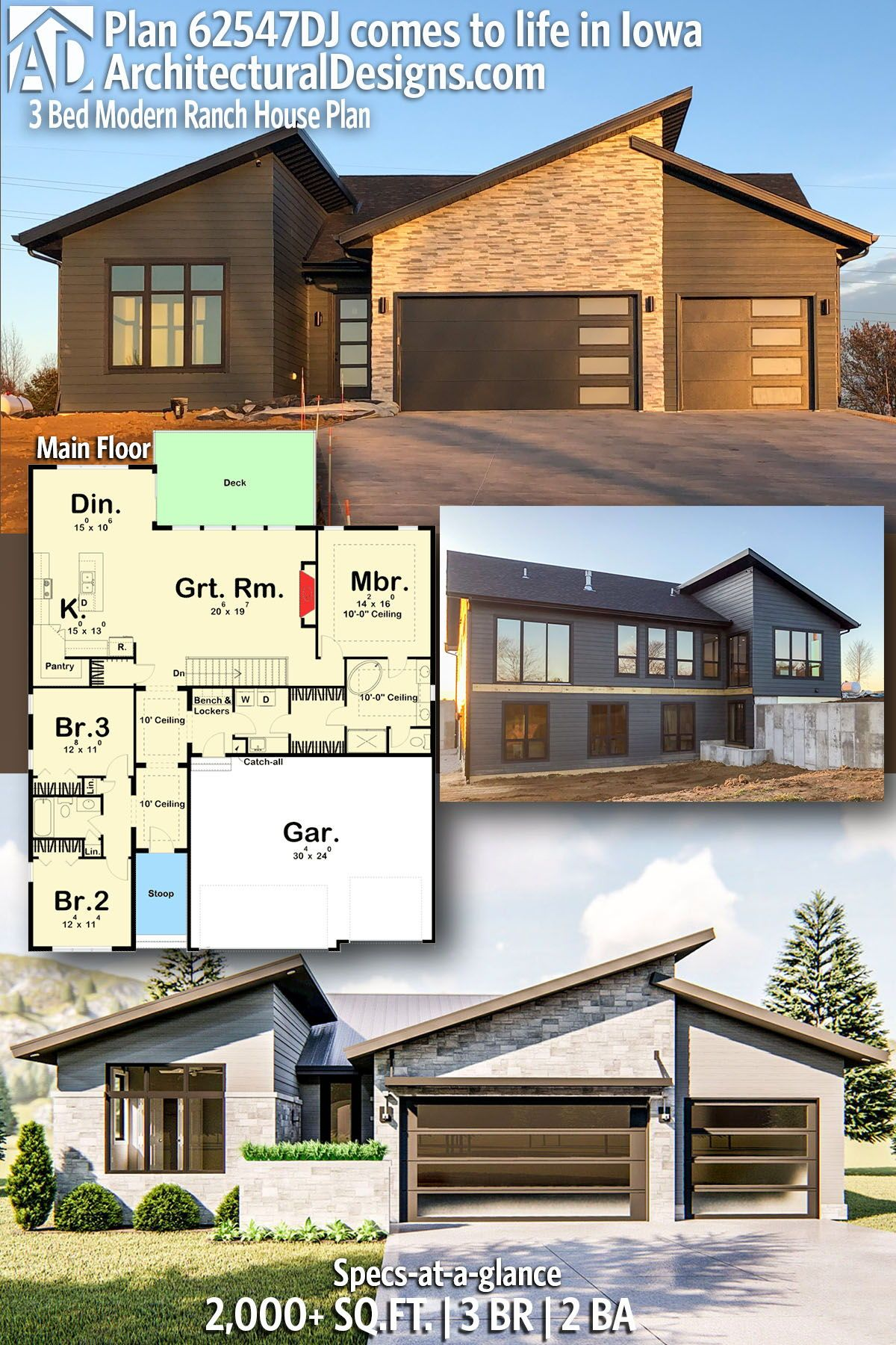 Plan 62547dj 3 Bed Modern Ranch House Plan House Plans House Plans For Sale Ranch House Plan