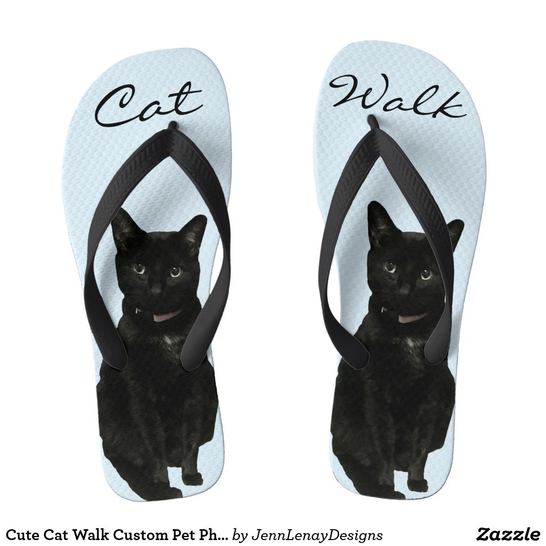 7453285229a1c2 Cute Cat Walk Custom Pet Photo Flip Flops