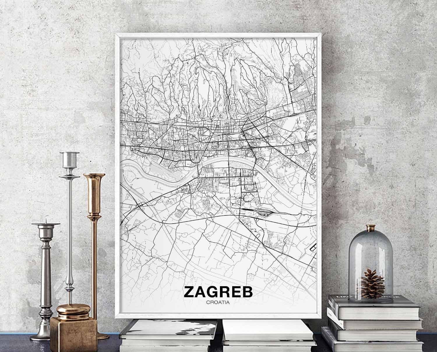 Zagreb Croatia Map Poster Hometown City Print Modern Home Etsy City Prints Map Poster Wall Decor Design