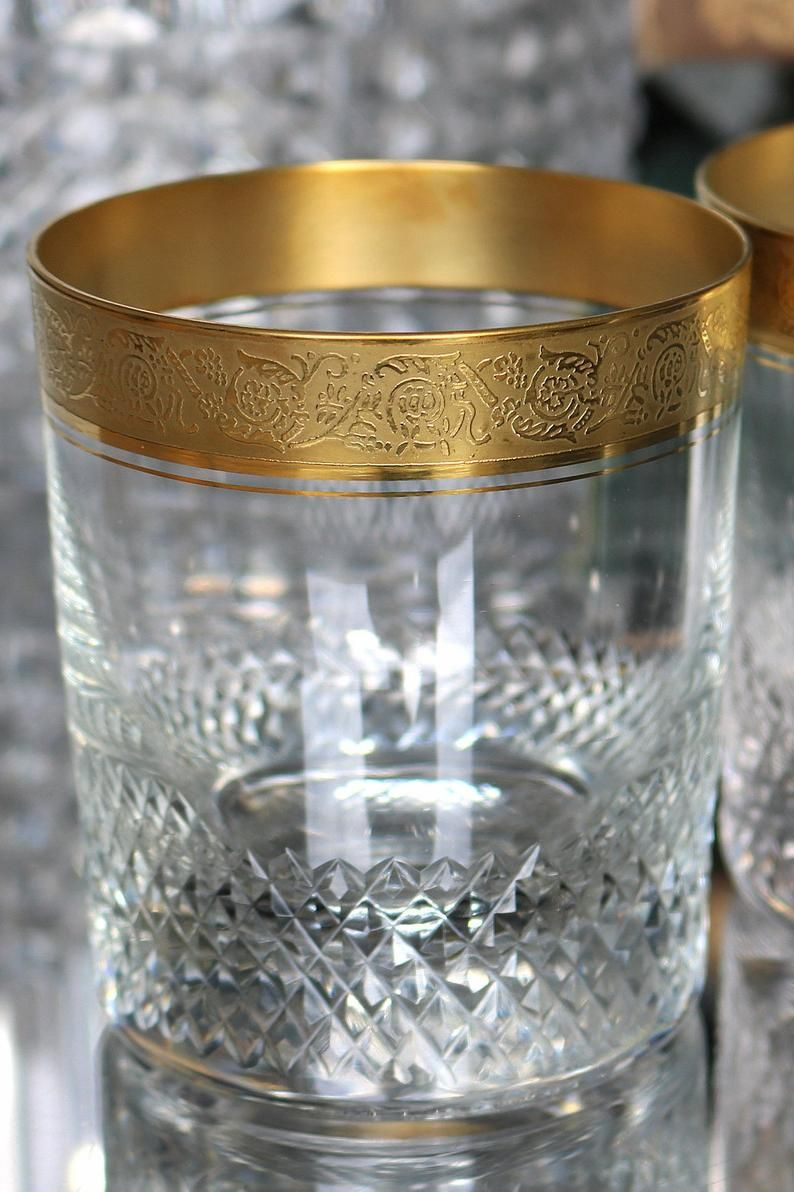 2x Crystal Whiskey Glasses With Textured 24k Gold Rim Old Etsy Vintage Crystal Glasses Crystal Whiskey Glasses Crystal Glassware
