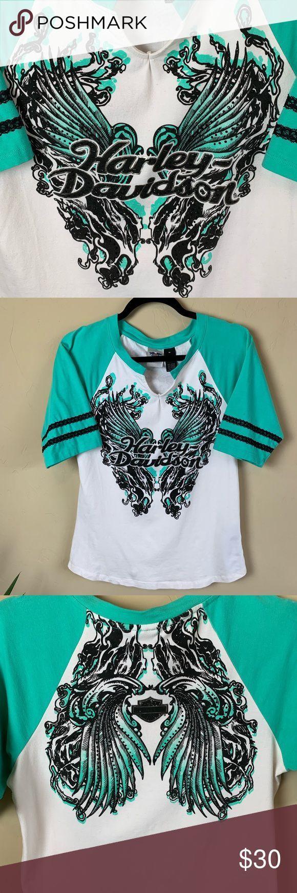 #angel  #HarleyDavidson  #Ra  #Raglan  #size  #TShirt  #Wings #Angel #Wings  Harley-Davidson Angel Wings Raglan T-Shirt Size M Harley-Davidson Angel Wings Ra...