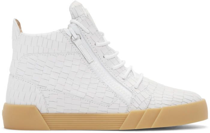 White Croc-Embossed London Mid-Top Sneakers Giuseppe Zanotti uqbRIt