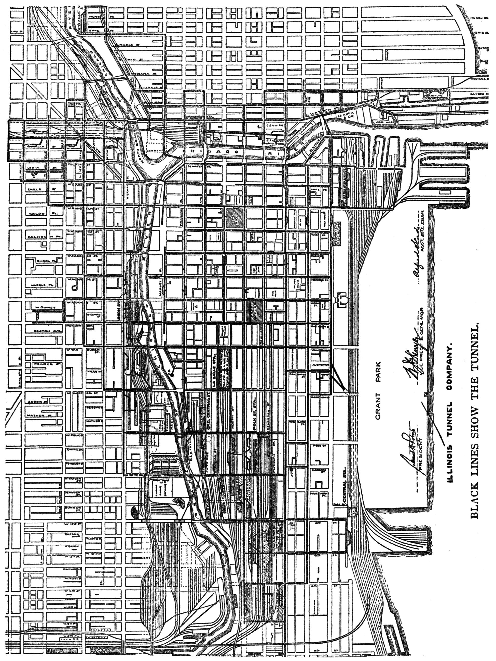 Chicago Underground Tunnels Map IllinoisTunnelMap1910Brook produces a map of underground