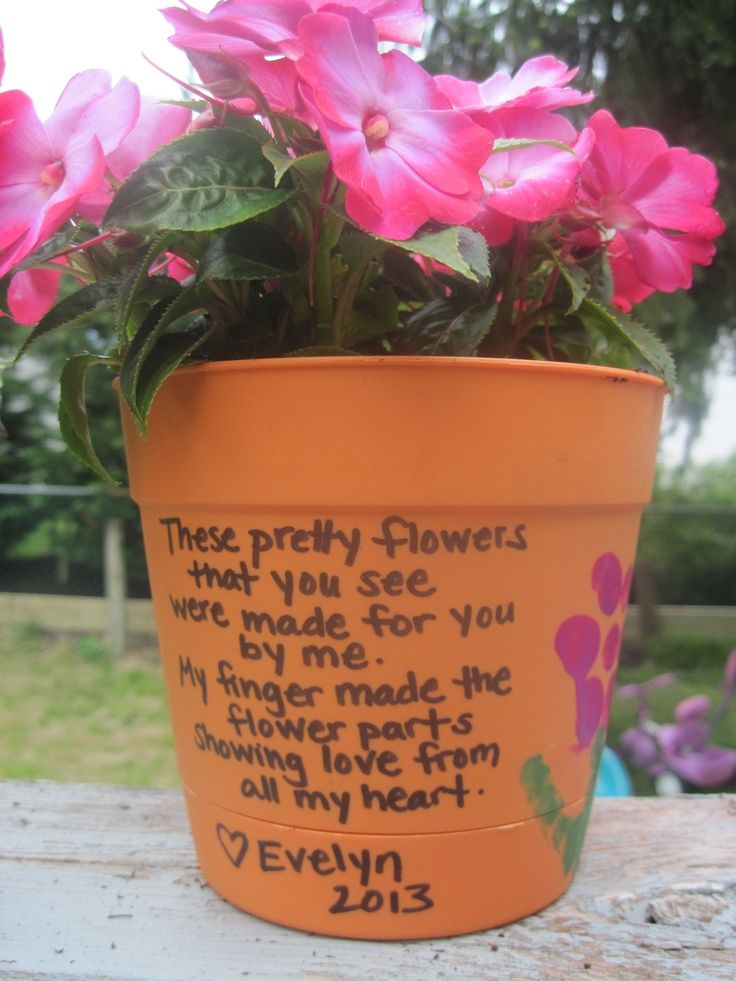 Flower pot we made for grandma for mothers day using
