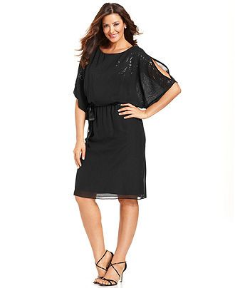 Jessica Howard Plus Size Dress, Short-Split-Sleeve Sequin Blouson ...
