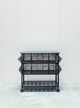 Iron 2 draws rack with blue stone top