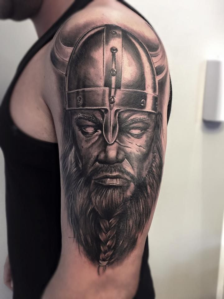 Viking Warrior Tattoo On Right Half Sleeve by Fredao ...