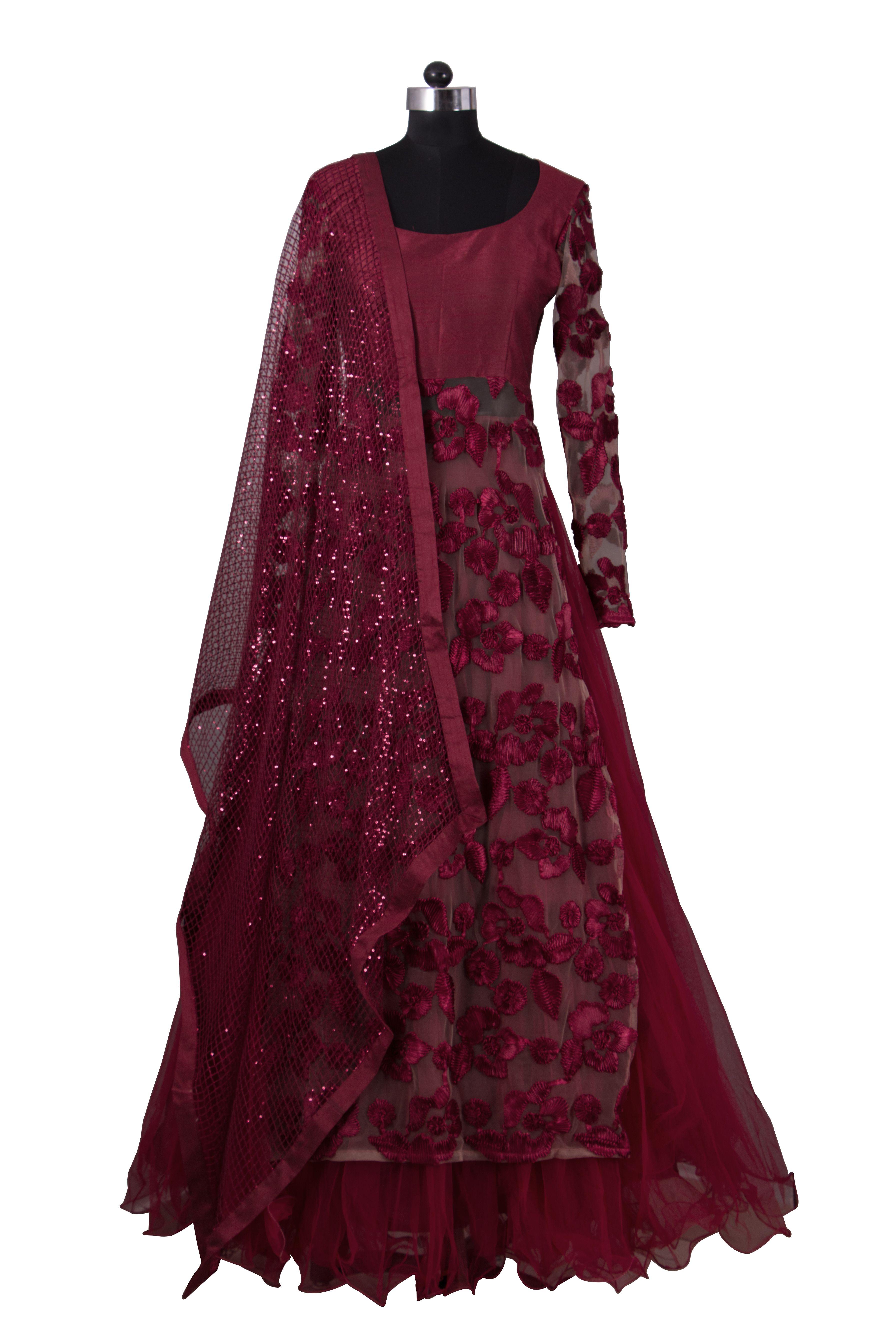 6c9ce515406 Rumena Special  Burgundy floral lehenga