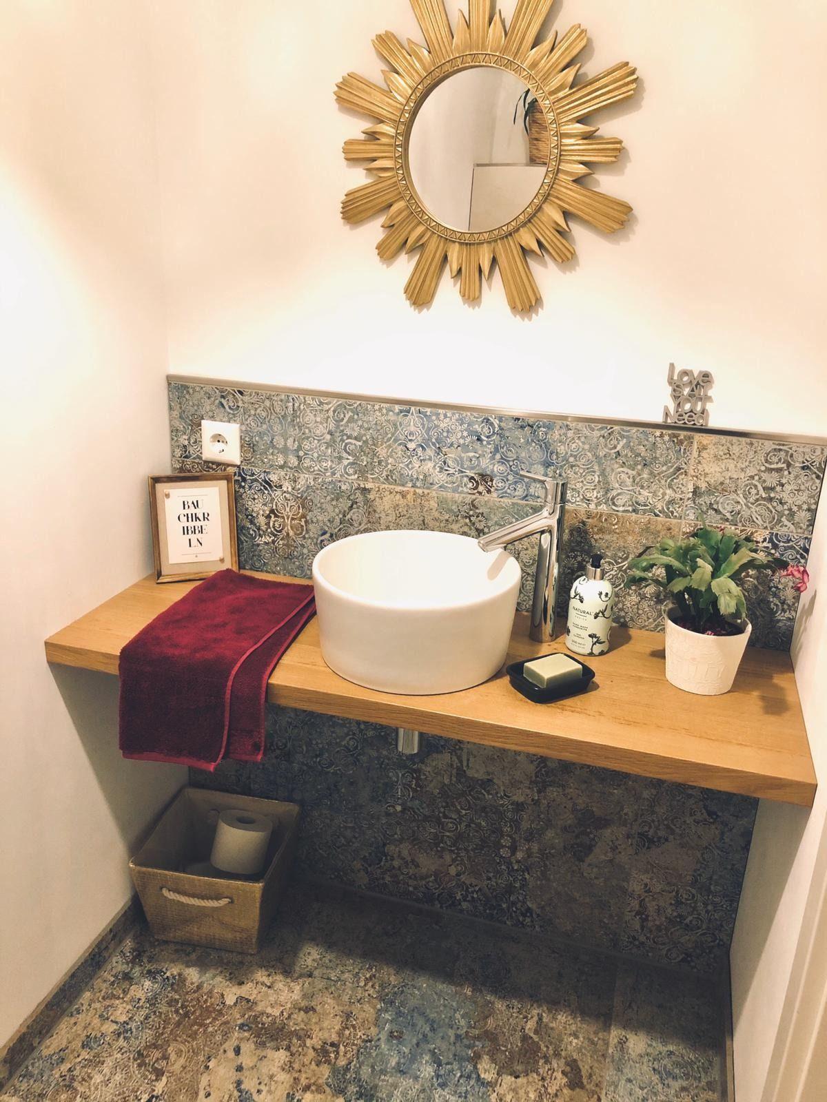 Orientalisch großformatige Fliese im Gäste WC   Gäste wc möbel ...