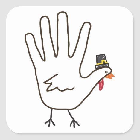 turkey hand square sticker | Zazzle.com