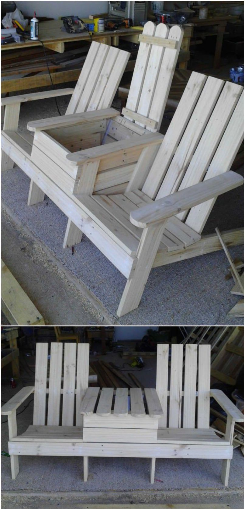 build a double chair bench with a cooler garden backyard diy pinterest m bel holz und. Black Bedroom Furniture Sets. Home Design Ideas