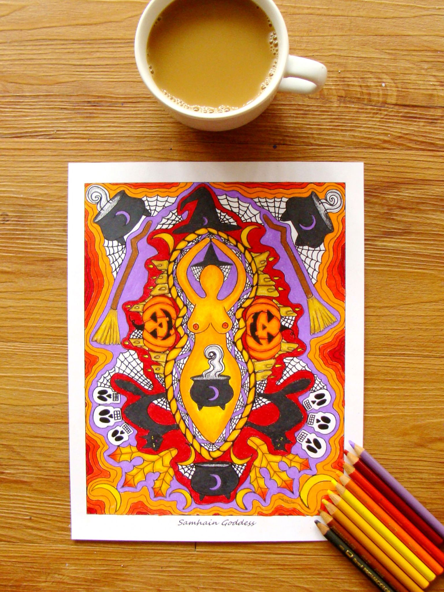 Samhain Goddess Mandala Coloring Page Colored In