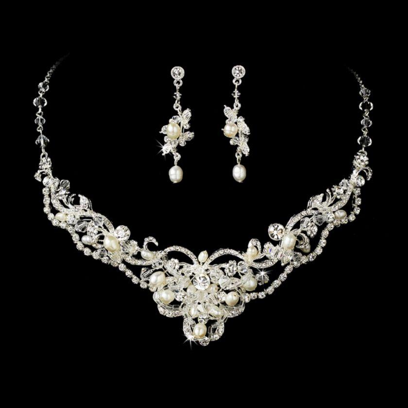 Freshwater Pearl Swarovski Crystal Ornate Wedding Jewellery Set