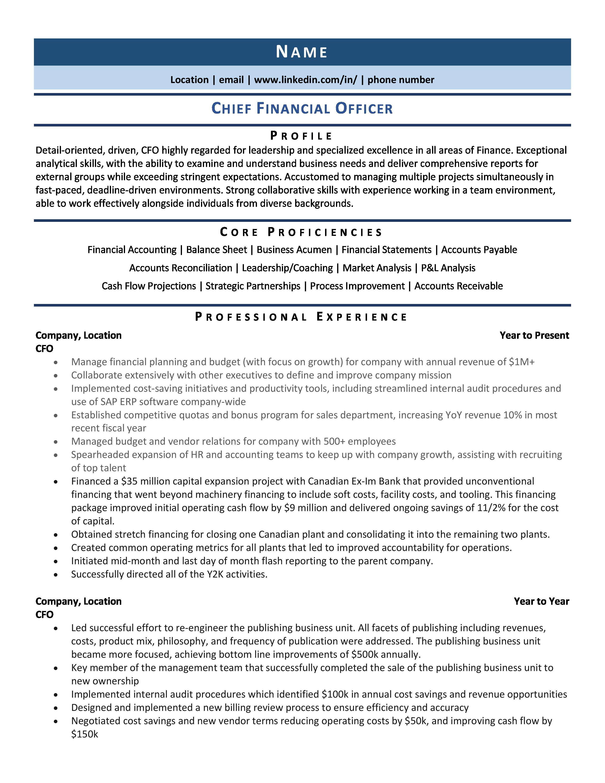 Chief Financial Officer Cfo Resume Samples Template Guide Chief Financial Officer Cfo Resume