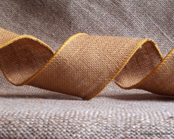 Russet Brown Burlap Wired Ribbon from Cottage Crafts Online