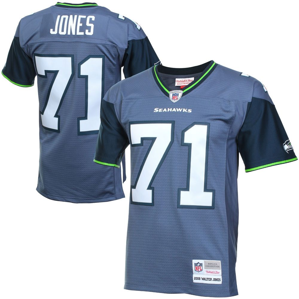 75a60ad2a Mens Seattle Seahawks Walter Jones Mitchell   Ness College Navy Retired  Player Vintage Replica Jersey