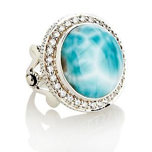 CL by Design Sterling Silver Larimar and CZ Round Ring at HSN.com.