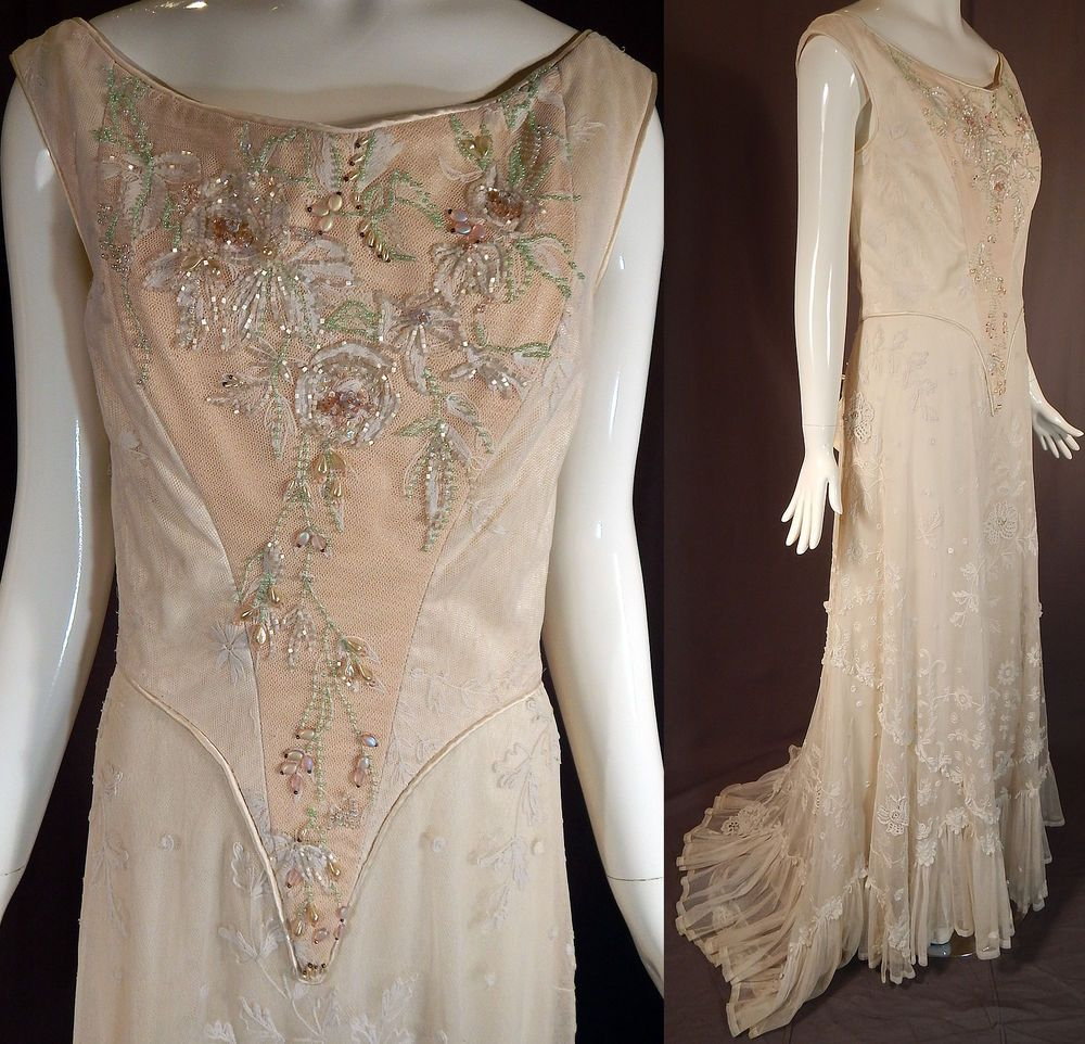 Vintage victorian style white tambour limerick lace beaded corset