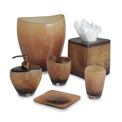 Aquarius Bronze Waste Basket, toothbrush holder, tissue holder - BedBathandBeyond.com