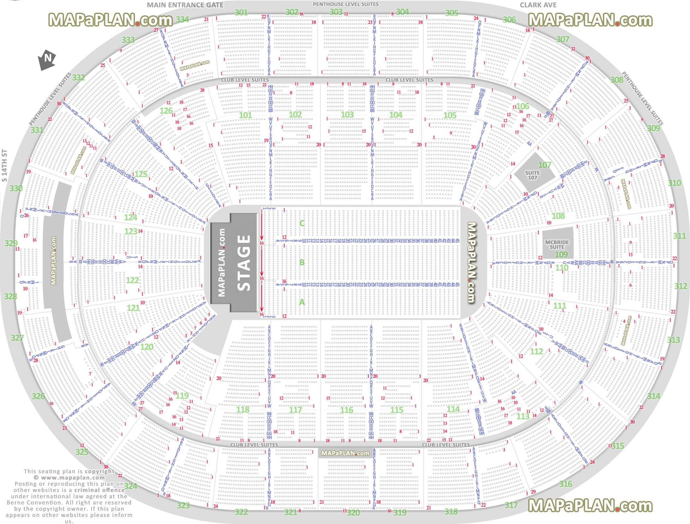 Detailed Seat Row Numbers End Stage Concert Sections Floor Plan Map Arena Plaza Club Mezzanine Level Layout St Loui Seating Charts Blue Seating Verizon Center