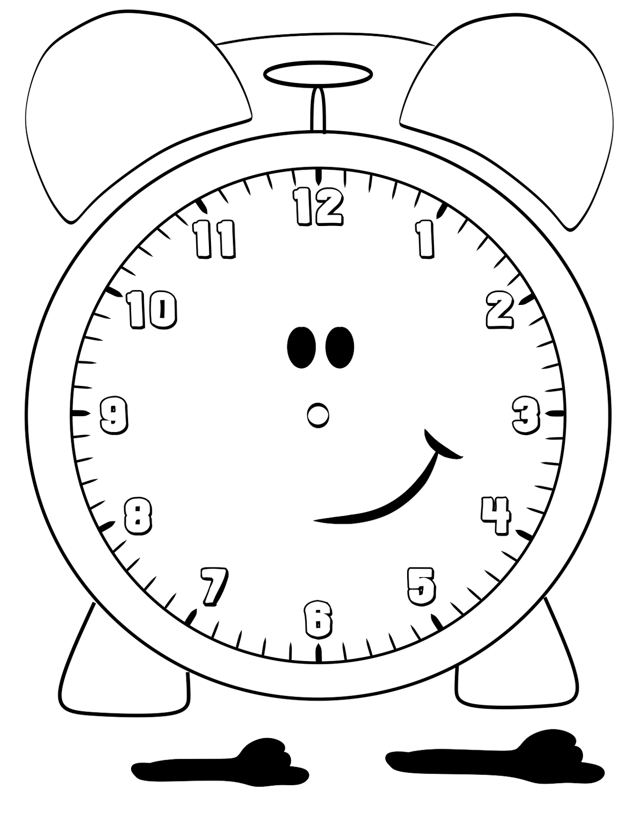 coloring pages blank kid kindergarten | Free Printable Clock Coloring Pages For Kids | Időmérés ...