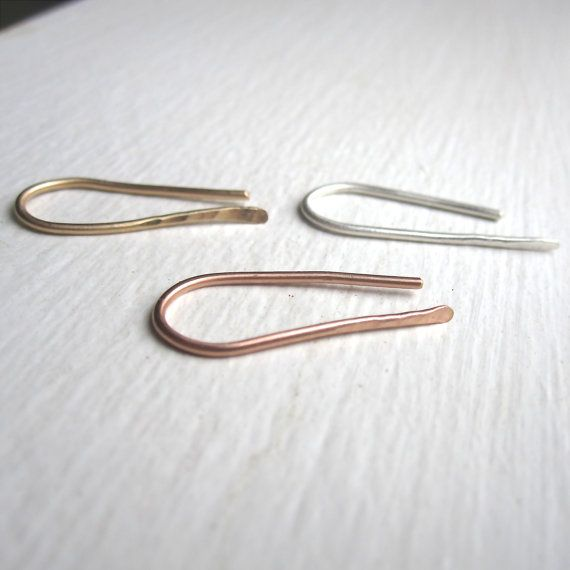 Tiny Ear Pin Earrings Climber Bar Stud Sterling Silver Hammered