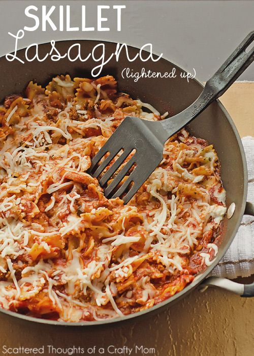Oh yum!!! Lightened Up Skillet Lasagna, simple and fast for busy weeknights. #comfort #skinny