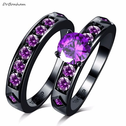 Wedding Couple Rings Set Black Purple Cubic Zircon CZ Women Men