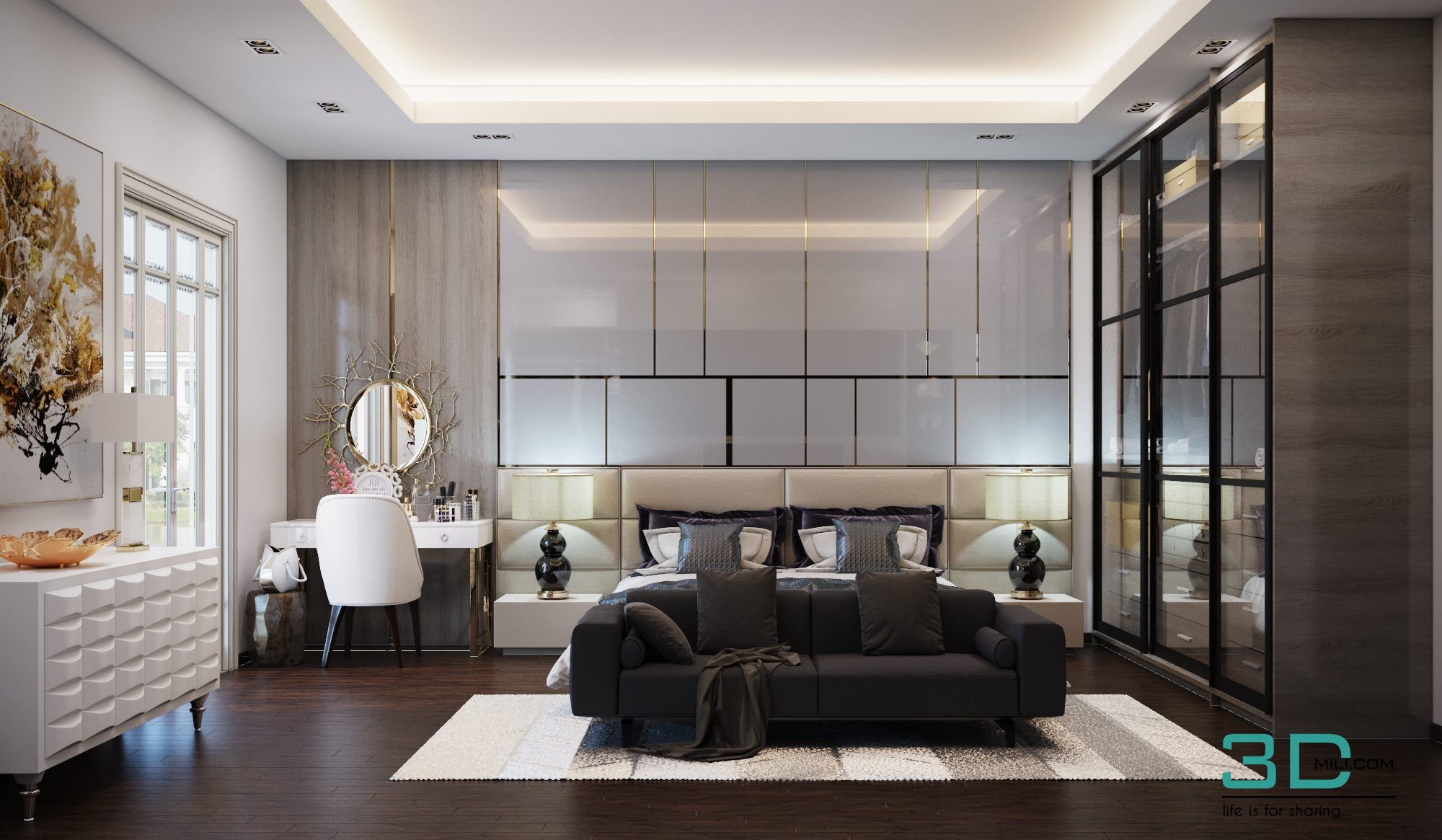 Full Full Room 07 3dsmax File Free Download By Dat Bui Modern Bedroom Interior Interior Design Living Room Apartment Bedroom Design