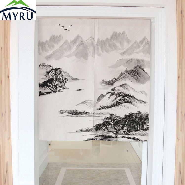 Myru Chinese Style Landscape Painting Dimidiate Door Curtain