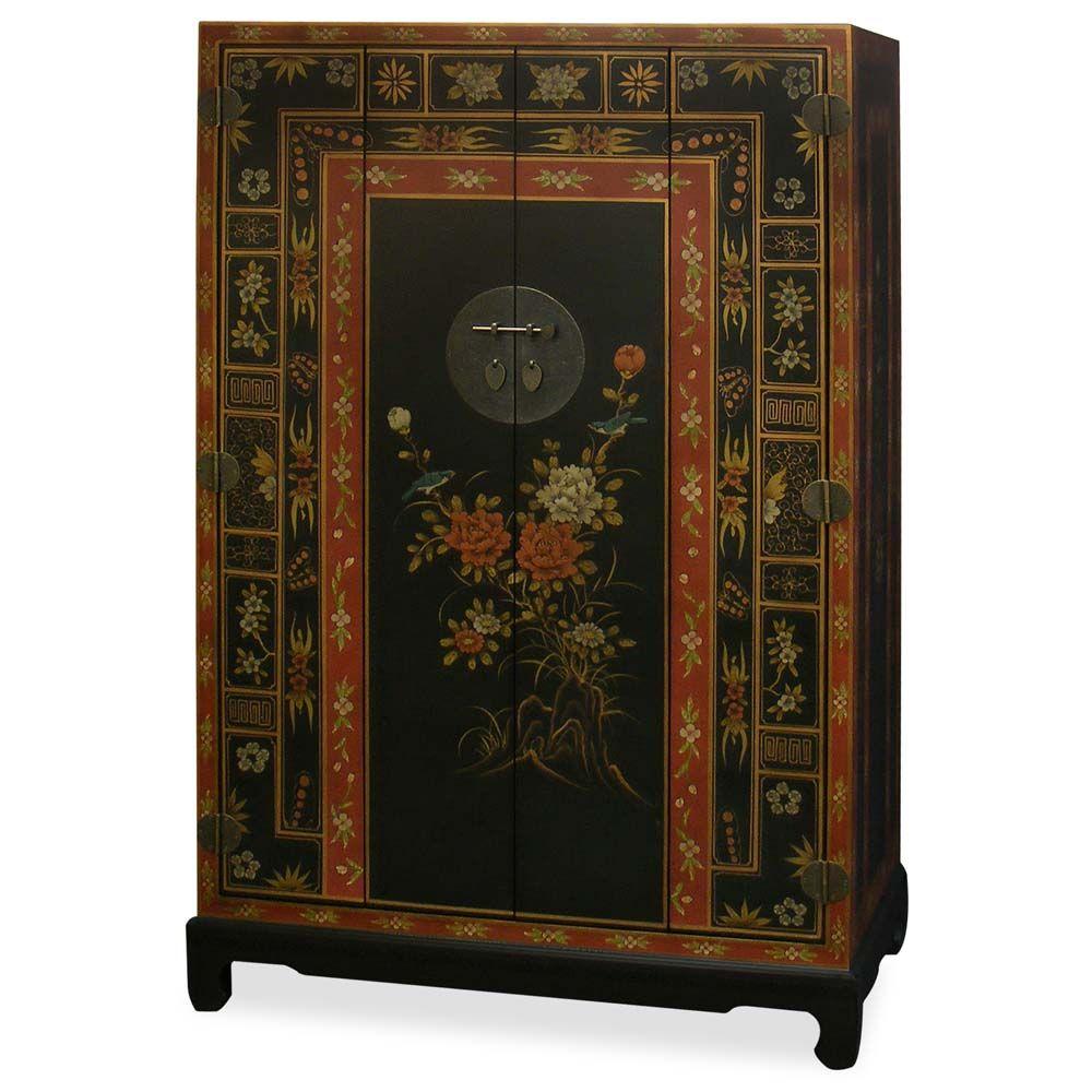 Hand Painted Tibetan Motif TV Armoire | Almacenamiento de medios ...