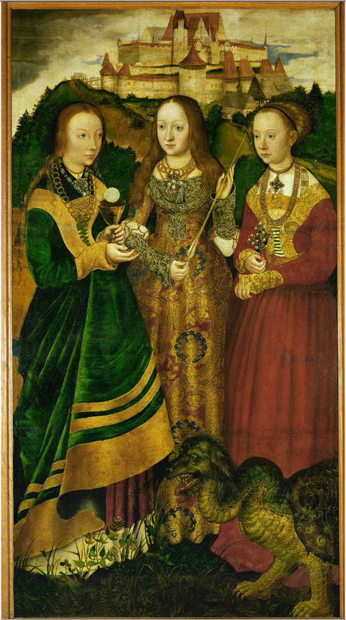 Saints Barbara, Ursula, and Margaret; left panel of Saint