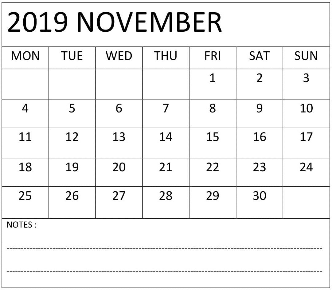 November Calendar Printable With Notes
